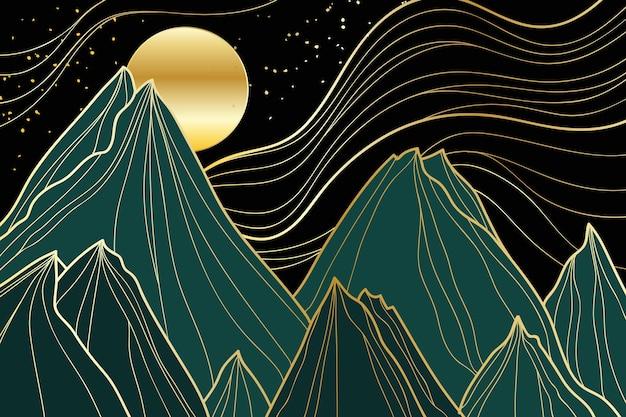 Fondo lineal dorado degradado con montañas y luna
