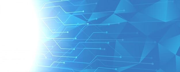 Fondo de líneas de circuito de tecnología azul abstracto