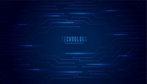 Fondo de líneas de diagrama de circuito de tecnología azul elegante