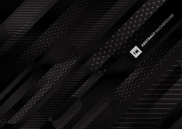 Fondo de líneas de gradiente líquido de patrón de color negro abstracto.