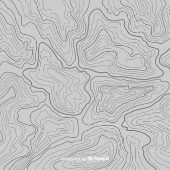 Fondo de líneas grises topográficas de vista superior