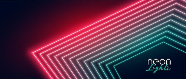 Fondo de líneas de luz de neón rojo y verde