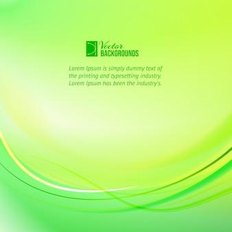 Fondo de líneas de luz verde con plantilla de texto de muestra