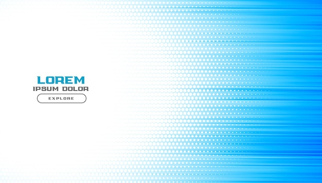 Fondo de líneas de semitono de presentación azul brillante