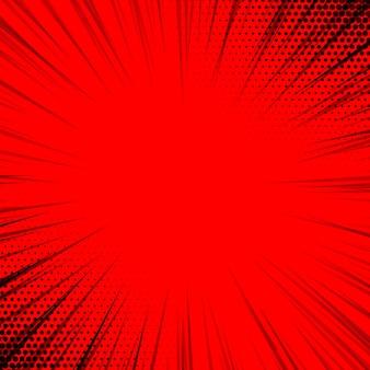Fondo de líneas de zoom cómico rojo