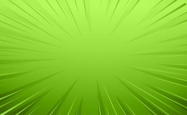 Fondo de líneas de zoom de estilo cómico verde vacío