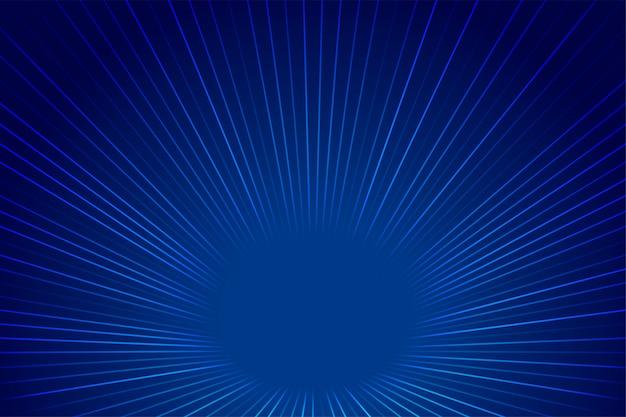 Fondo de líneas de zoom de perspectiva de estilo de tecnología azul