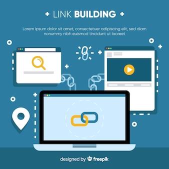 Fondo de link building en diseño plano