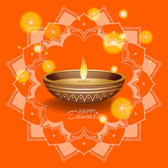 Fondo con linterna mandala para feliz festival de diwali