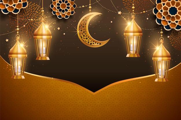 Fondo con linternas doradas y elementos de media luna, tono dorado y marrón.