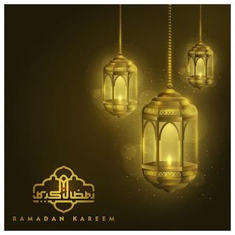 Fondo de linternas de saludo de ramadán kareem con caligrafía árabe