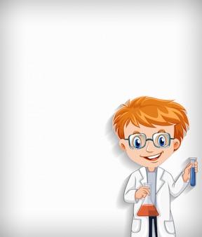 Fondo liso con científico feliz y sus herramientas
