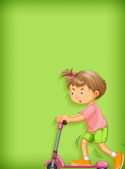 Fondo liso con niña jugando scooter