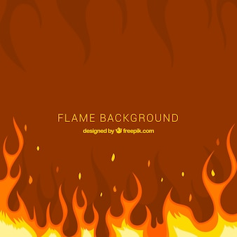 Fondo de llamas en diseño plano