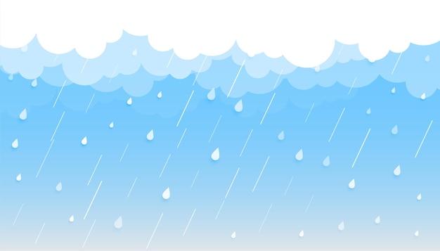 Fondo de lluvia con nubes y gotas.
