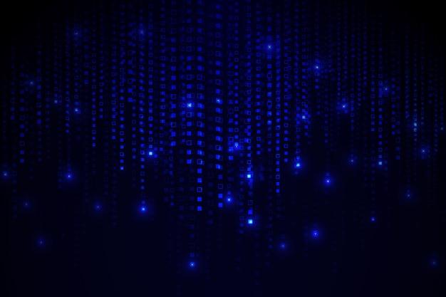 Fondo de lluvia de píxeles abstractos azul