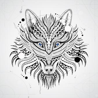 Fondo de lobo con diseño geométrico