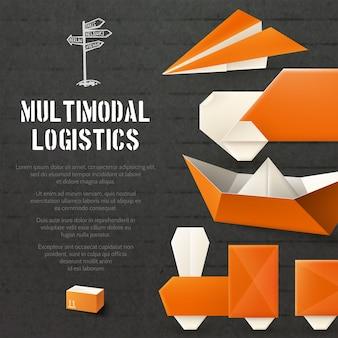 Fondo logístico de origami