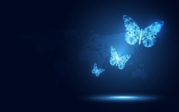 Fondo lowpoly azul futurista de la tecnología del extracto de la mariposa. inteligencia artificial de transformación digital y concepto de big data.