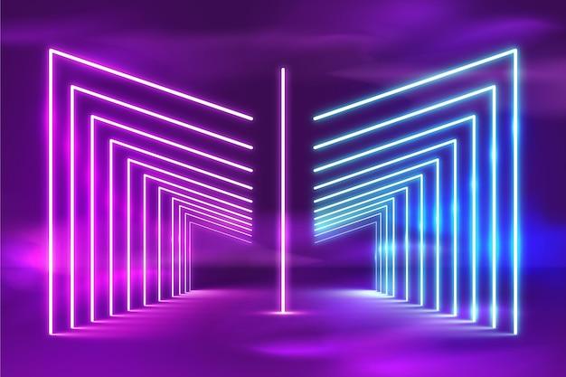 Fondo de luces de neón brillante realista