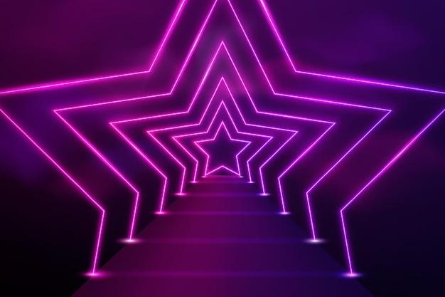 Fondo de luces de neón de formas de estrellas realistas