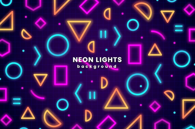 Fondo de luces de neón de formas geométricas