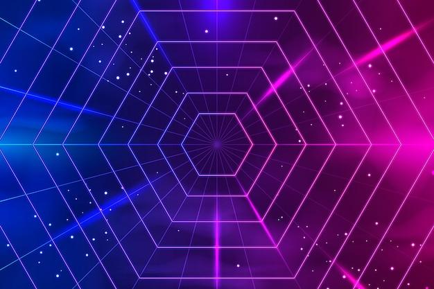 Fondo de luces de neón de hexágonos realistas