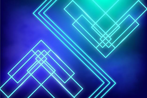 Fondo de luces de neón de líneas geométricas