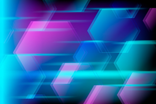 Fondo de luces de neón de modelos geométricos