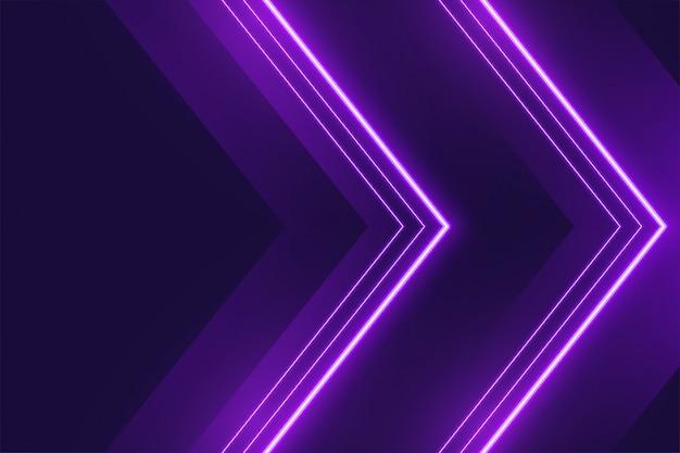 Fondo de luces de neón púrpura en estilo de flecha