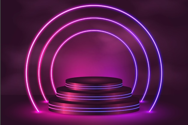 Fondo de luces de neón realista con podio