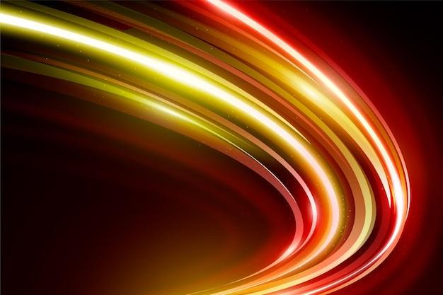Fondo de luces de neón de velocidad dorada y roja