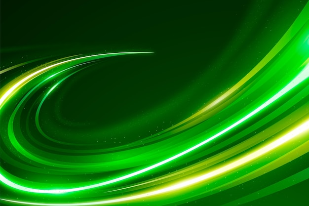 Fondo de luces de neón de velocidad dorada y verde