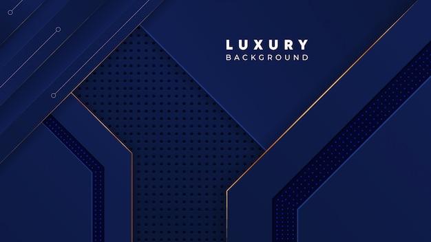 Fondo de lujo abstracto azul real con detalles dorados