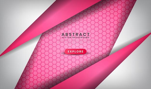 Fondo de lujo abstracto blanco y rosa con patrones hexagonales