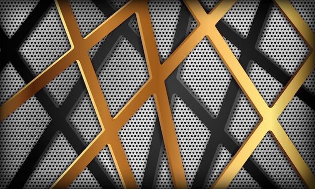 Fondo de lujo abstracto con línea dorada y textura de carbono plateado diseño corporativo moderno