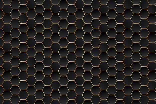 Fondo de lujo abstracto negro y oro hexágonos