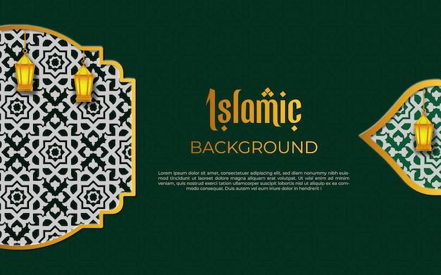 Fondo de lujo árabe islámico con marco de patrón