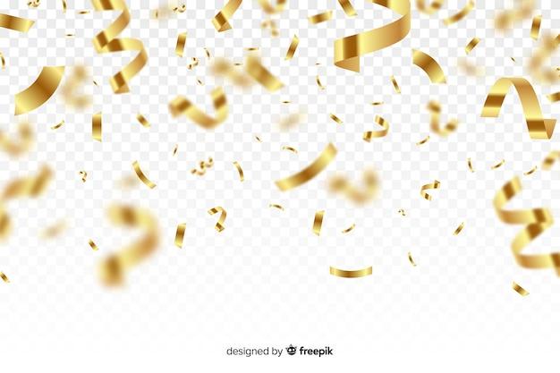 Fondo de lujo con confeti dorado cayendo