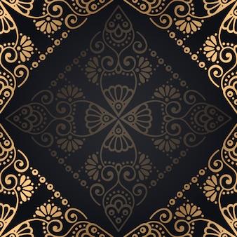 Fondo de lujo diseño mandala ornamental en vector de color oro