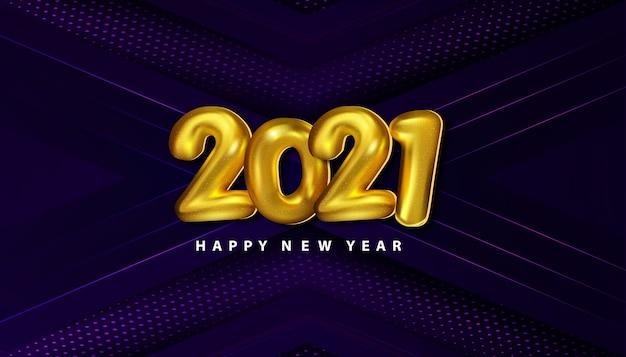 Fondo de lujo feliz año nuevo 2021 con semitono de decoración de papercut