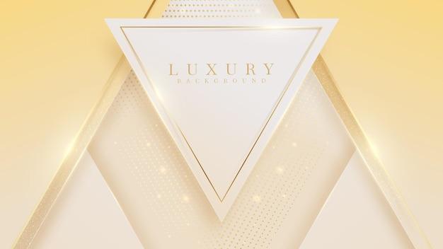 Fondo de lujo de forma de triángulo dorado abstracto