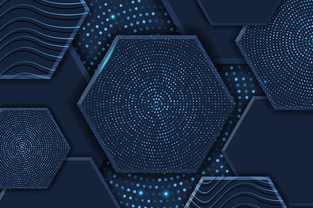 Fondo de lujo hexágono 3d abstracto con patrón de semitono brillante