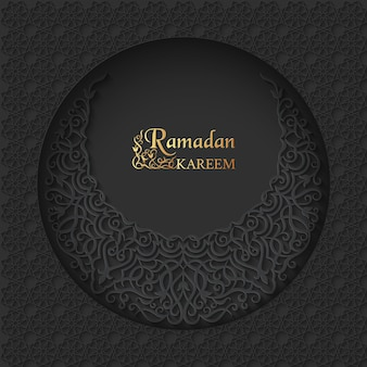 Fondo de lujo islámico de ramadan kareem con luna creciente estampada en forma de círculo