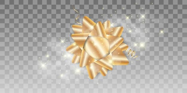 Fondo de lujo con un lazo dorado sobre un fondo transparente. arco dorado.