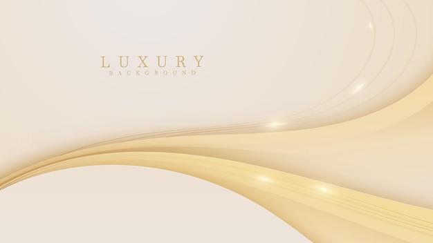Fondo de lujo de líneas curvas doradas. elegante estilo de corte de papel realista 3d.