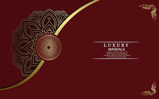 Fondo de lujo mandala con arabescos dorados