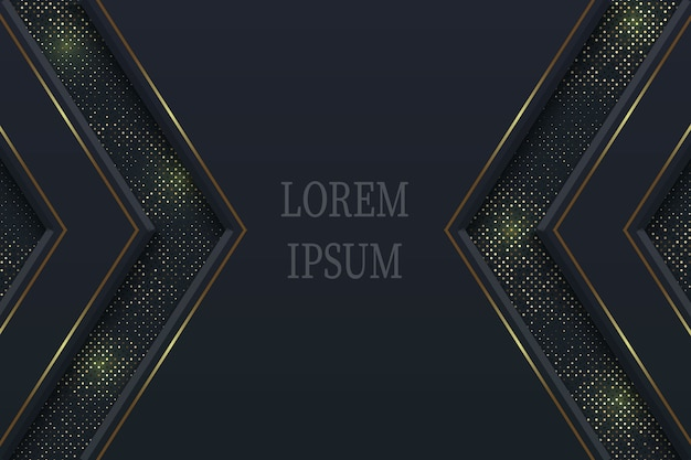 Fondo de lujo negro geométrico con elementos dorados, concepto de papel cortado