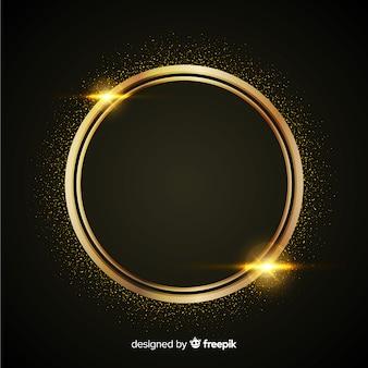 Fondo de lujo con partículas doradas y marco circular redondo