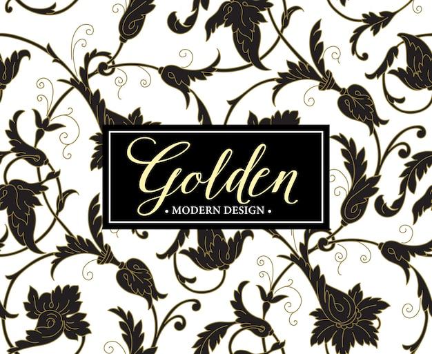 Fondo de lujo de patrones sin fisuras con marco dorado